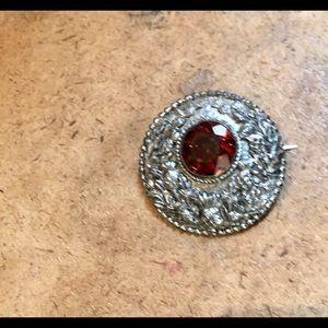 VINTAGE MOON BROOCH ORANGE-RED STONE